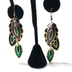 """Jewelry - Berebl Earrings Green Purple Blk Leaf 3"""""""